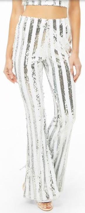 Forever 21 Sequin Stripe Flare Pants
