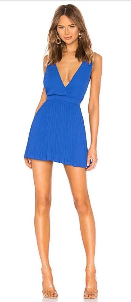 Revolve Plunge Pleated Mini Dress