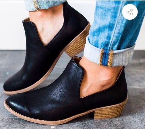 Black Leather Cut Out Booties