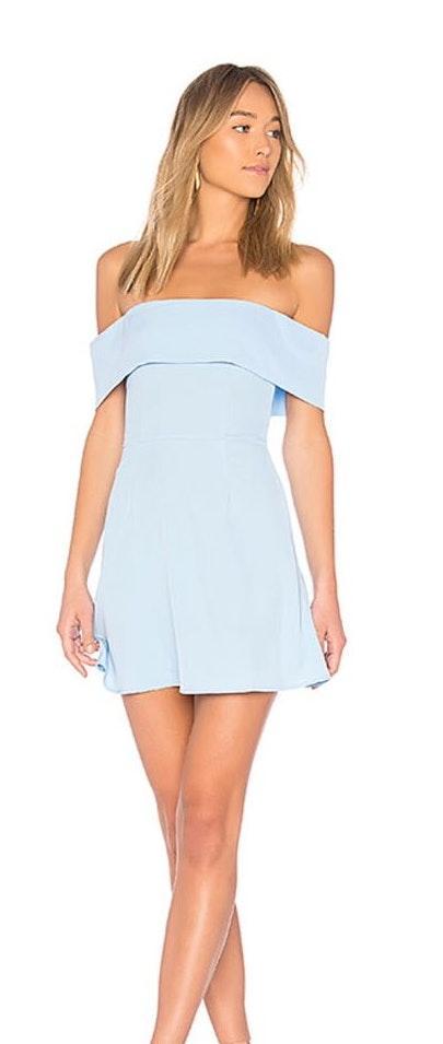 superdown Baby Blue Off The Shoulder Dress