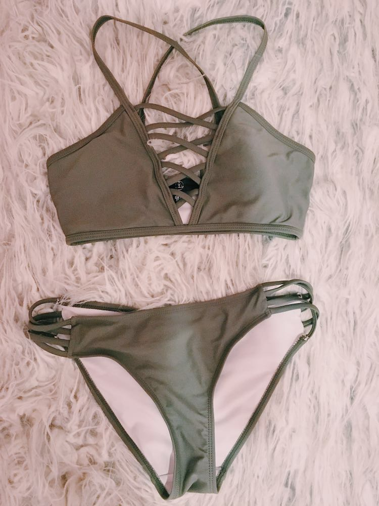 Missguided olive green bikini set
