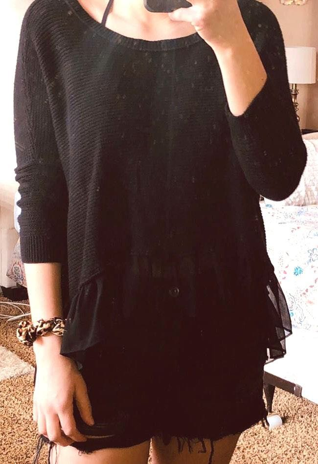 American Eagle Outfitters Black Ruffle Sweater