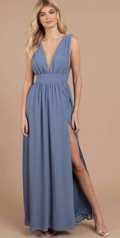 Tobi Light Blue Low Cut Formal Dress