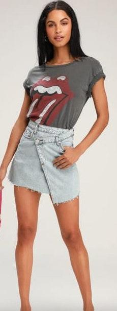 BLANK NYC Asymmetrical Denim Skirt