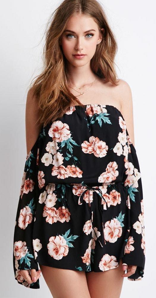 Forever 21 Black Floral Off The Shoulder Long Sleeve Romper