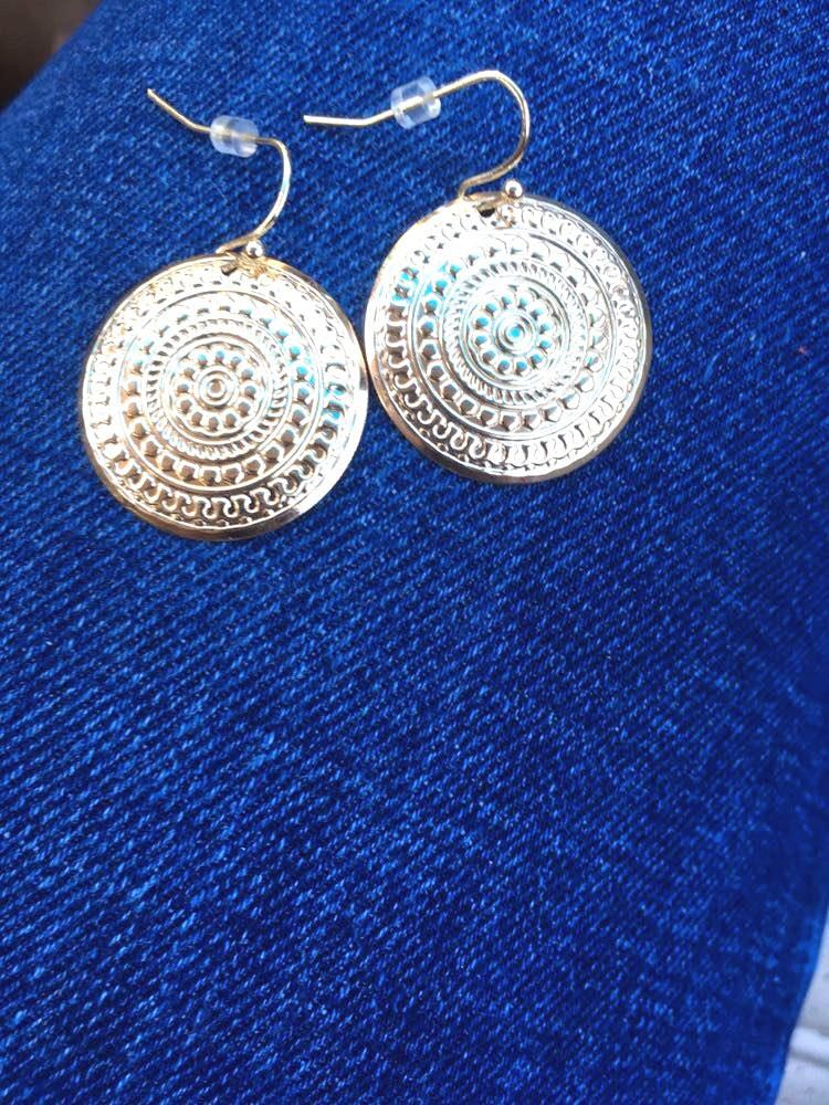 Banana Republic Gold Plated Floral Print Earrings