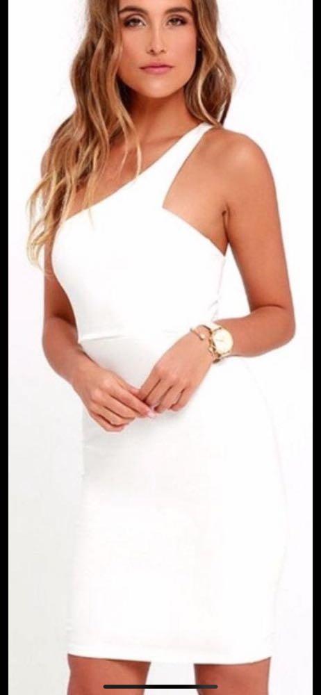Lulus White One shoulder Dress