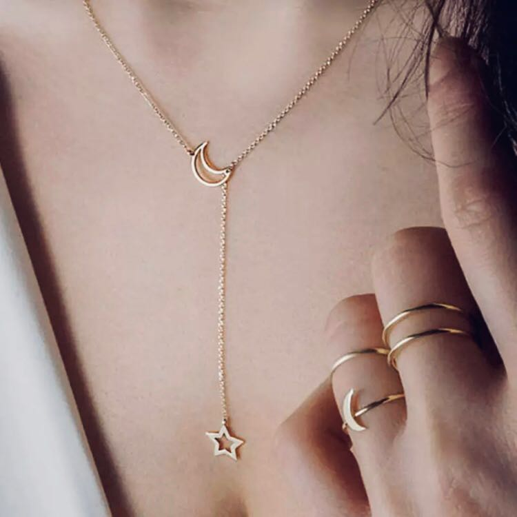 New Minimalist Moon Star Lariat Gold Necklace
