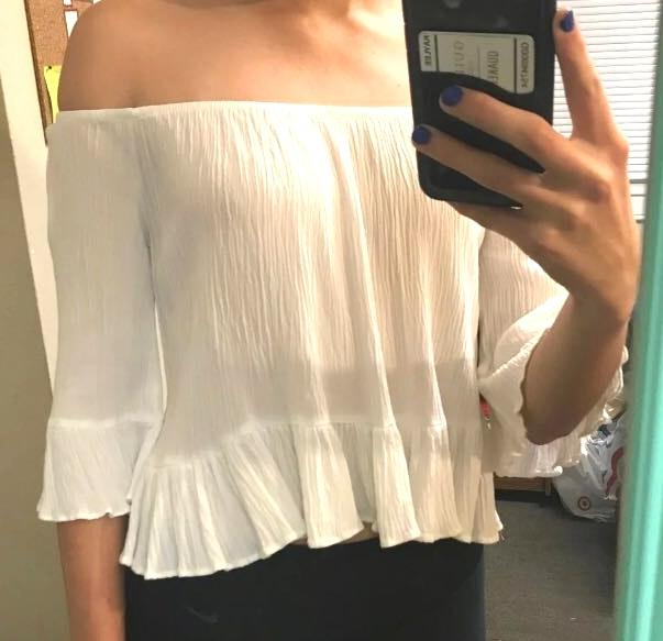 4491982dbd790 We re the buy sell app for cute clothes. Say to being bored of your  clothes. Home Ambiance Apparel Off The Shoulder White Top