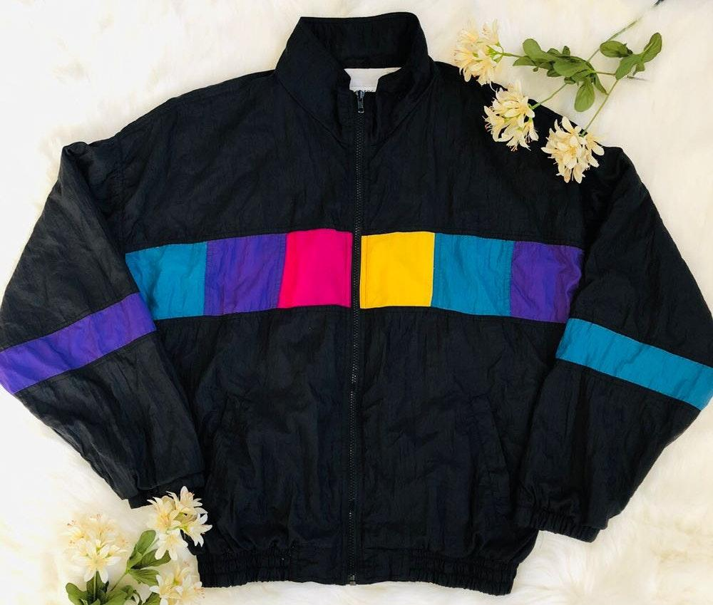 Vintage colorful multi block windbreaker Jacket