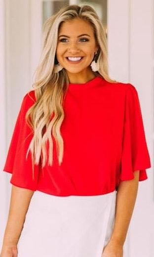 These Three Boutique Red Flowy Top