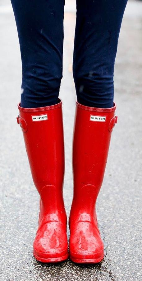 Hunter Red Glossy Rain Boots