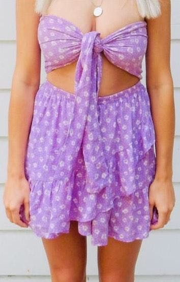 Amazing Lace Purple Front Tie Dress