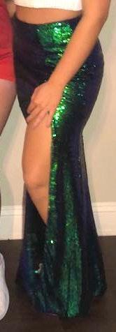 Windsor Iridescent Sequin Green Maxi Skirt