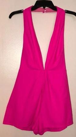 L'ATISTE Halter Top Hot Pink Romper