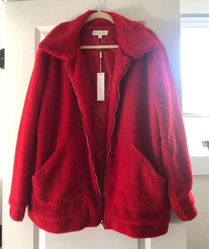 Meshki Red teddy coat