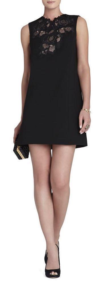 BCBGMAXAZRIA Lace-Applique Sleeveless Dress