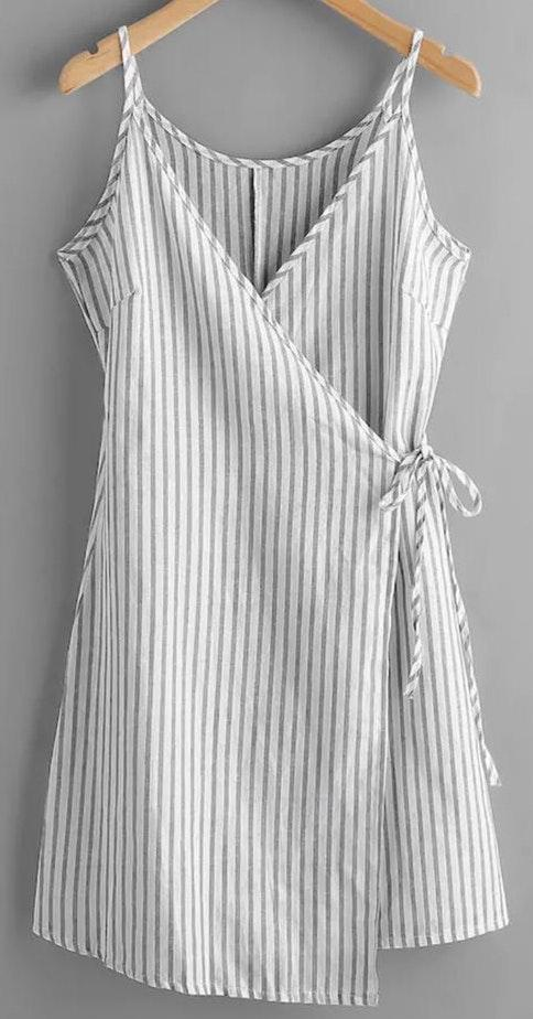 SheIn Stripe Wrap Dress