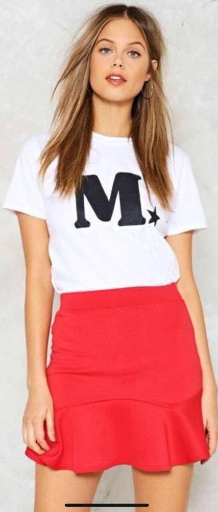 Nasty Gal Red Flare Scuba Skirt