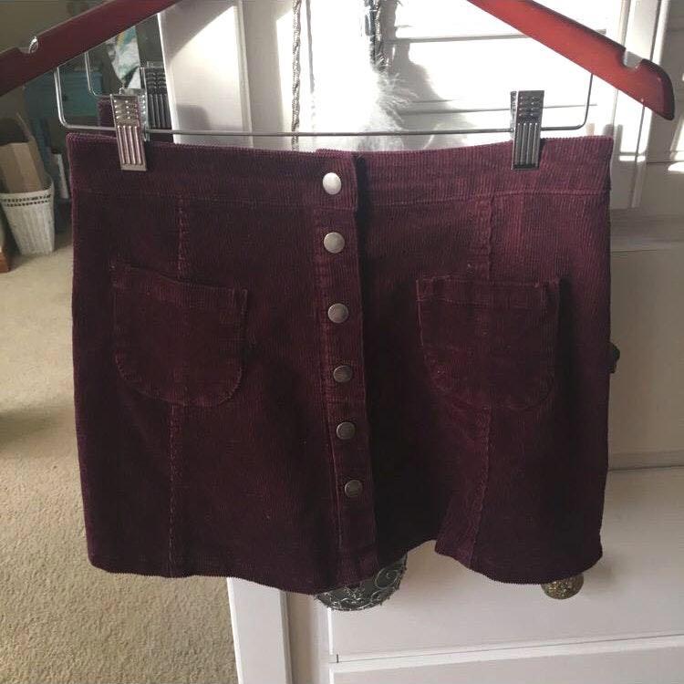482f2db85b Brandy Melville Burgundy Button Down Skirt   Curtsy