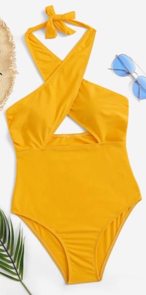 Romwe Cross Cross Low Back One Piece Swimsuit