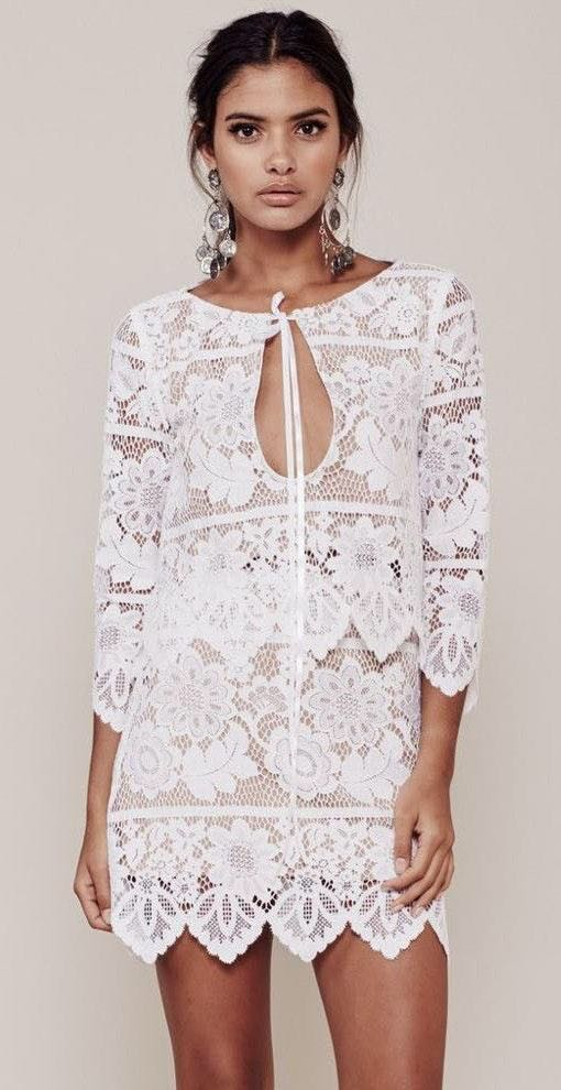 For Love & Lemons Two Piece White Lace Set