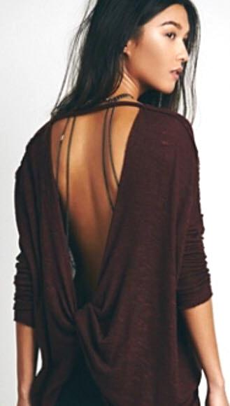 We The Free Shadow Hacci Twist Open Back Knit Top Red