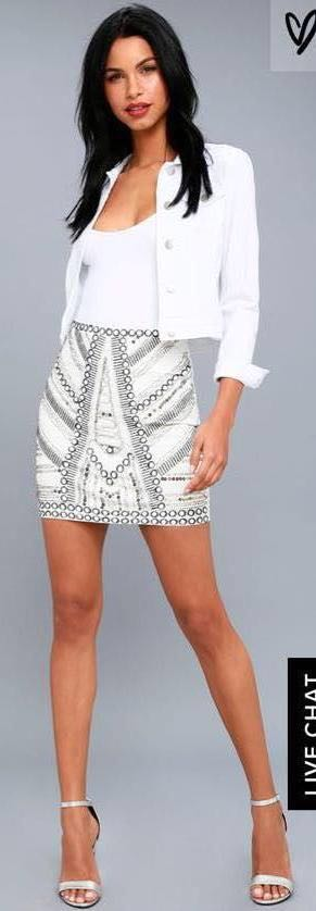 Lulus Deluxe Love White Beaded Skirt