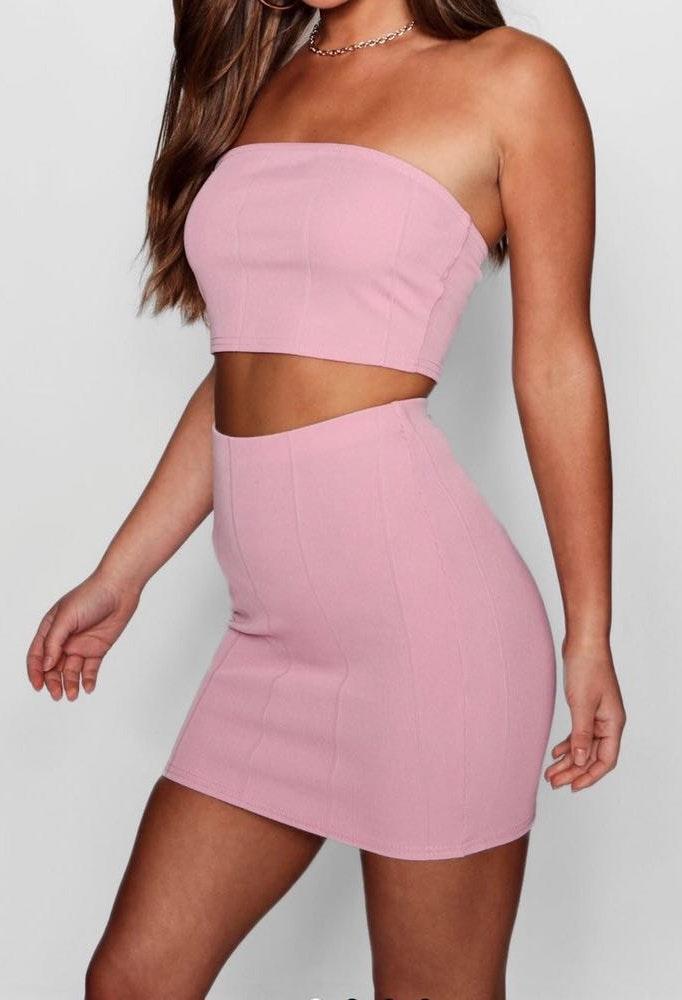 Boohoo bandage bandeau & mini skirt set