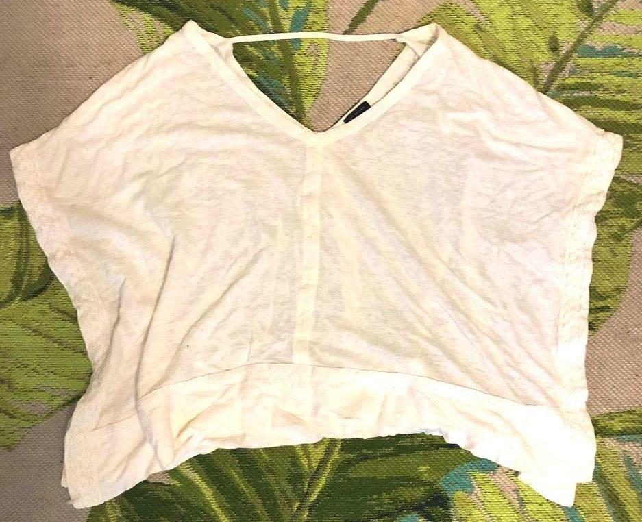 Ann Taylor Pearl White Flowy Shirt