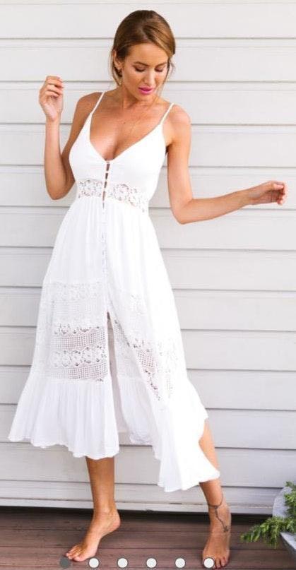Hello Molly White Midi Lace Detail Dress