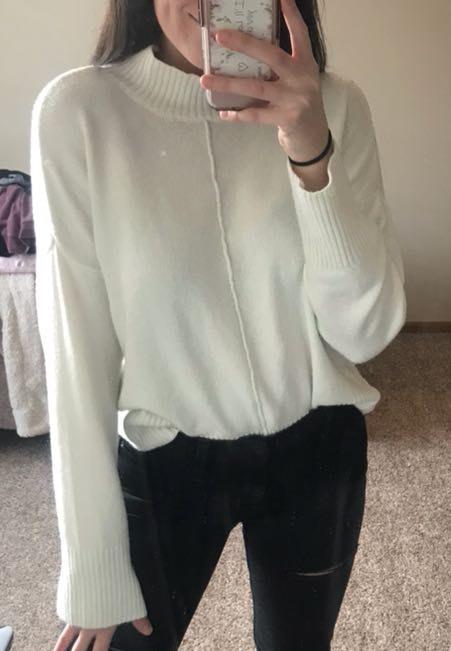 Pink Rose Half Turtleneck White Sweater
