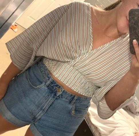 Lizard Thicket Colorful Striped Crop Top