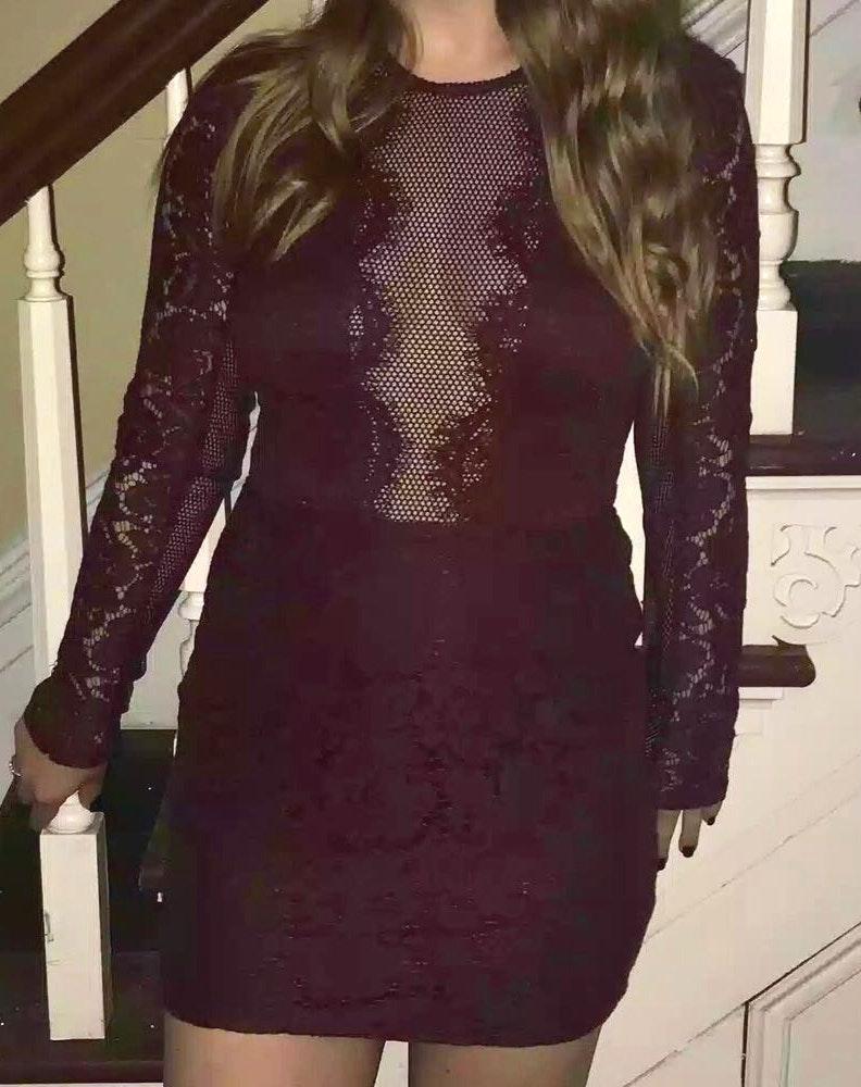 Tobi Lace Burgundy Dress