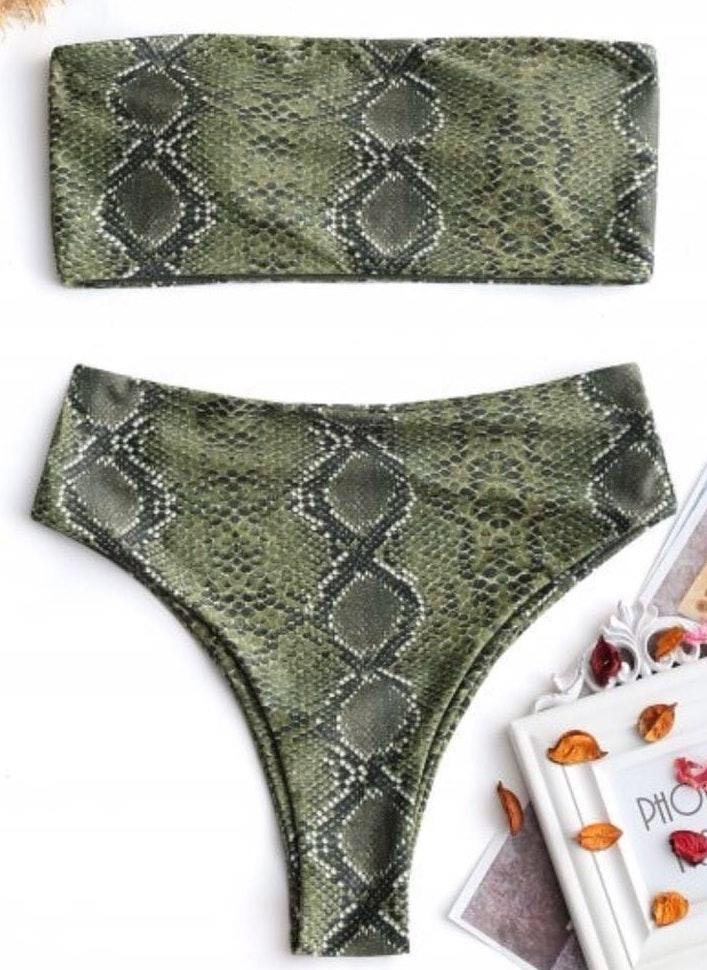 Zaful Green Snake Skin Bikini