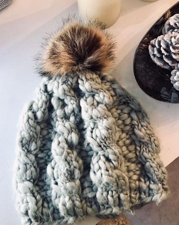 Gray Chunky Knit Beanie