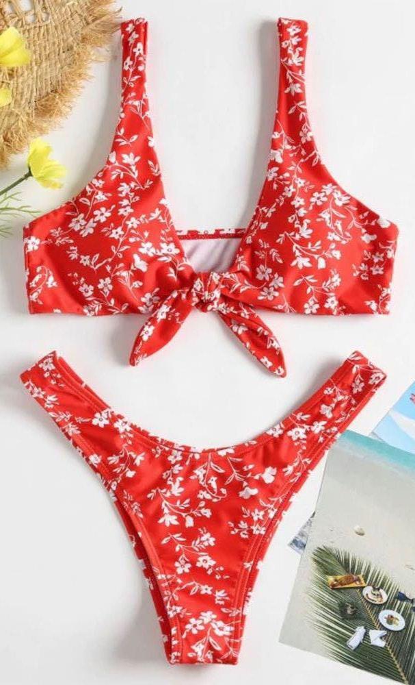 Zaful Red floral bikini bottoms