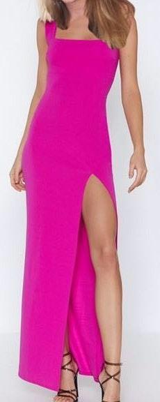 Nasty Gal Pink Slit Maxi Dress