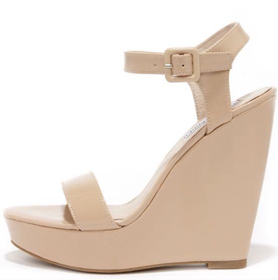 22e28e4a4b3 Steve Madden Nude Platform Wedge Heels