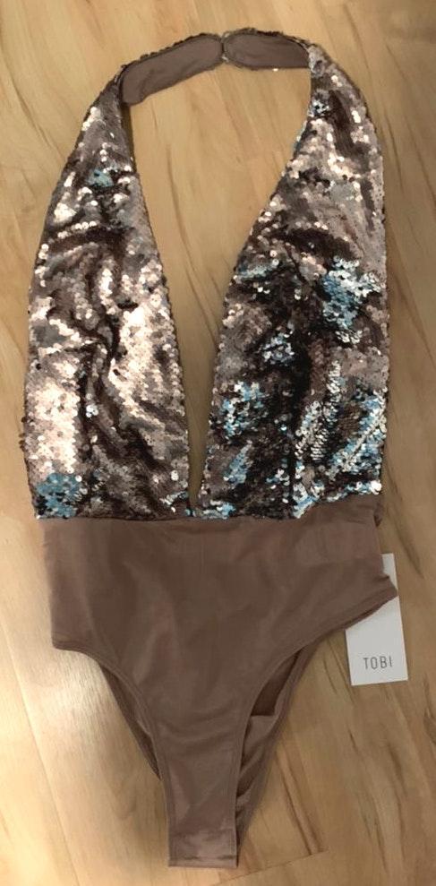 Tobi Reversible sequins bodysuit