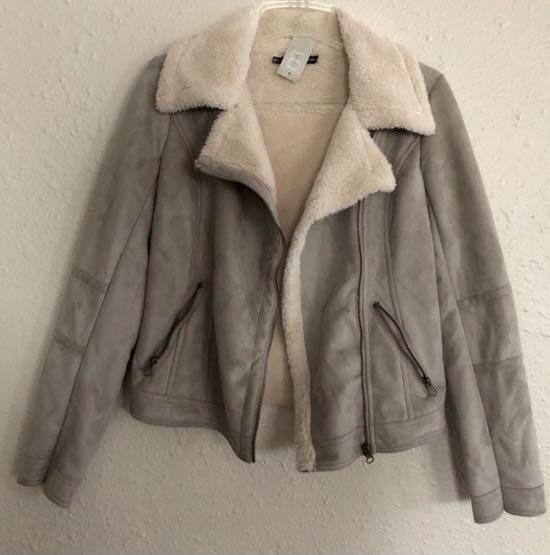 Maurice's' NWT Maurice's Gray Suede Faux Fur Jacket