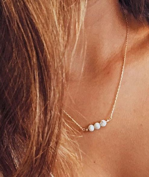 Dainty White Marble Necklace