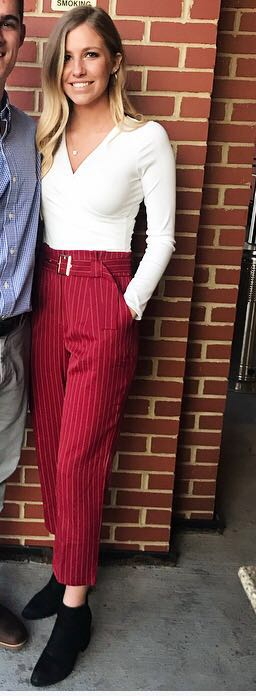 Charlotte Russe Red Dress pants with Belt