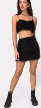 Motel Rocks Feather Skirt And Crop Set