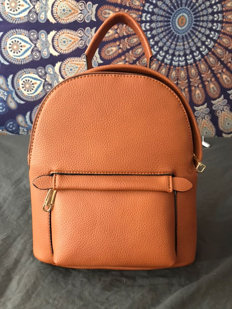 Beige Leather Small Backpack