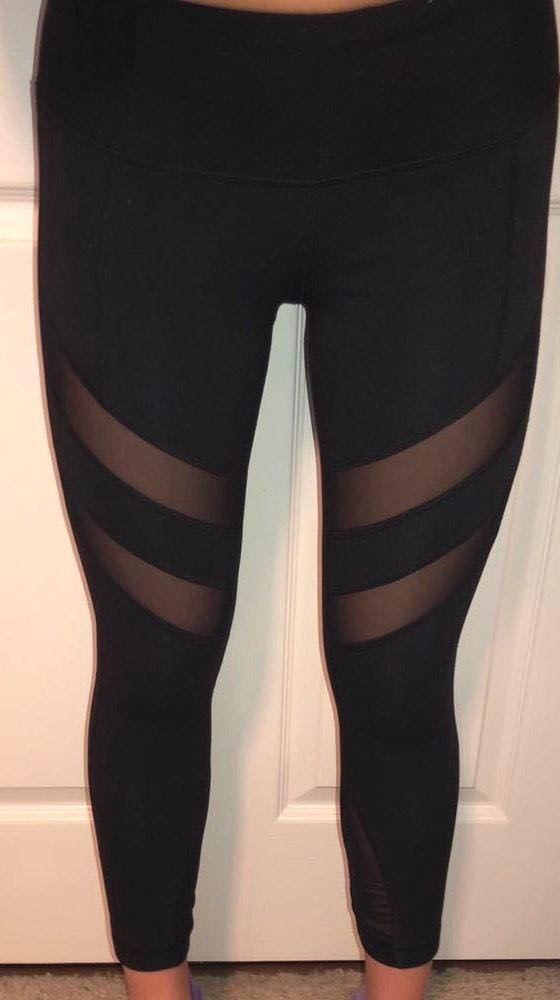 Yogalicious Black Diagonal Mesh Leggings