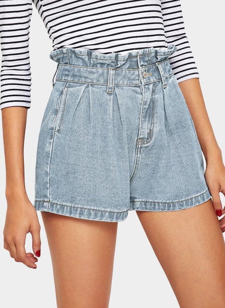SheIn Paper Bag Waist Denim Shorts