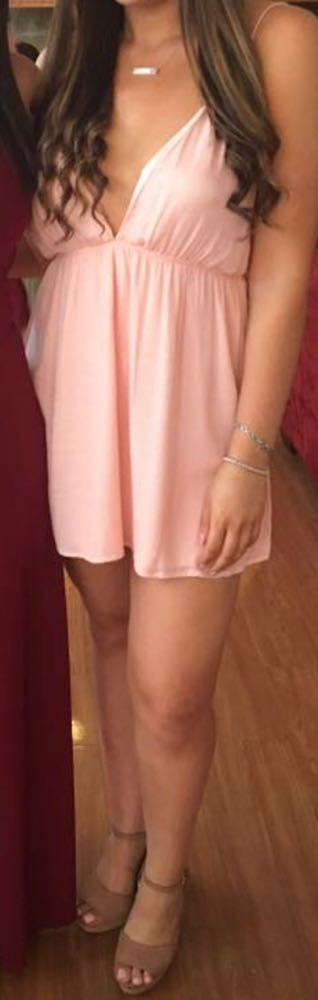 Tobi Pink Plunging Strappy Dress