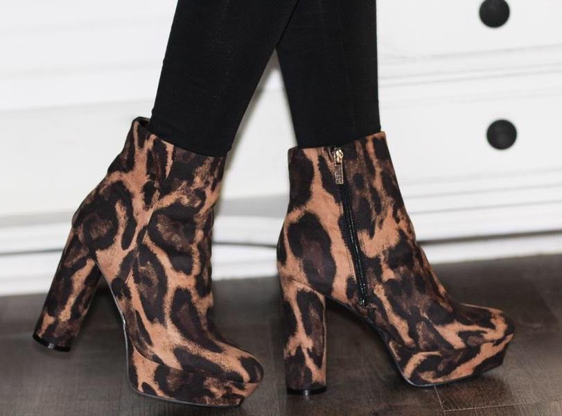 Bamboo Leopard Heel Booties