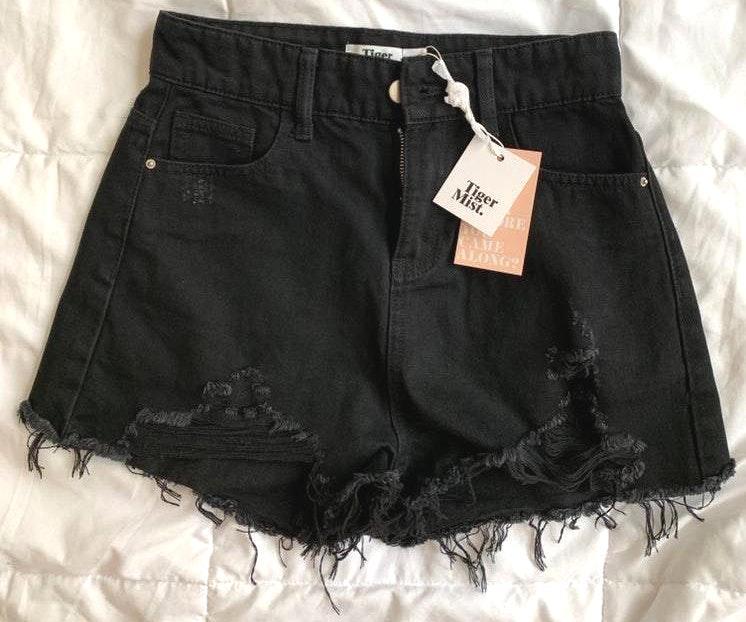 Tiger Mist Black Denim Shorts